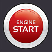 Start engine button. Red round sticker. — Stock Vector