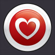 Heart button. Vector red round love sticker. — Vektorgrafik