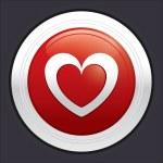 Heart button. Vector red round love sticker. — Stock Vector