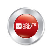 Adults only button. Age limit sticker. Isolated. — Stock Vector
