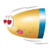 Bullet in love fly. Valentines day. Isolated. — Stock Vector