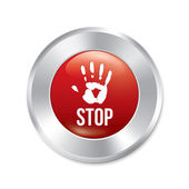 Hand stop button. Age limit red round sticker. — Stock Vector