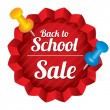 Back to school sale. Sticker with pushpins. — Vector de stock #30916747