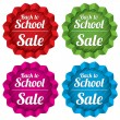 Back to school sale tags. Special offer stickers. — Vector de stock #30922219
