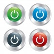 Power button. Turn on round stickers collection. — Stock Vector
