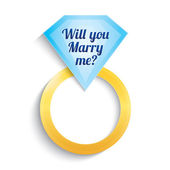 Engagement ring with diamond. Will you marry me. — Stock Vector
