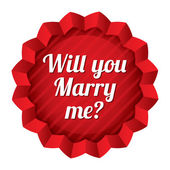 Bröllop-tagg. kommer du gifta dig med mig klistermärke. — Stockvektor