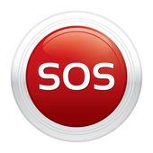 Sos button. Red round sticker. — Stock Photo