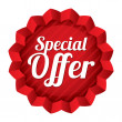 Stock Photo: Special offer price tag. Red round star sticker.