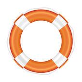 Orange lifebuoy with white stripes and rope. — Stock Photo