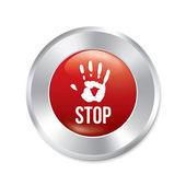 Tlačítko zastavit rukou. věkové omezení červené kulaté nálepky. — Stock fotografie