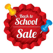 Back to school sale. Sticker with pushpins. — Stock Photo