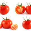 Red tomatoes set isolated on white background. — Stock Photo