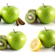 Green apple, kiwi, lemon set, isolated on white. — Stock Photo #32314561