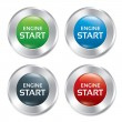 Start Engine buttons set. Vector round stickers. — Stock Vector