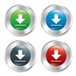 Stock Vector: Metallic download buttons template set.