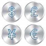 Metallic money buttons template set. — Stock Vector