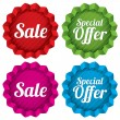 Stock Vector: Sale and Special offer price tags set. Vector.