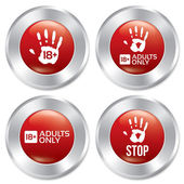 Adults only button set. Vector age limit stickers. — Stock Vector