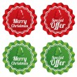 Stock Vector: Merry christmas special offer price tags set.