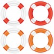 Colorful lifebuoy set with stripes and rope. — Stock Vector