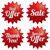 Sale, best offer, special offer, thank you tags — Stock Vector