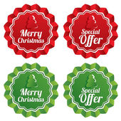 Merry christmas special offer price tags set. — Stock Vector