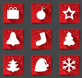 Merry Christmas flat paper icons with shadows. — Stock Vector