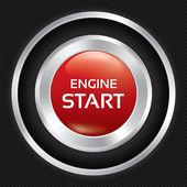 Start Engine button on Carbon fiber background. — Stock Vector