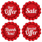 Sale, best offer, special offer, thank you tag set — Stock Vector