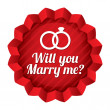 Wedding star. Will you marry me sticker. — Stock Photo