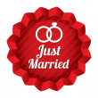 Wedding star. Just married sticker with rings. — Stock fotografie