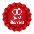 Wedding star. Just married sticker with rings. — Stock Photo