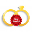 Wedding gold rings. Just married label. — Stock Photo