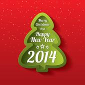 Merry Christmas green tree greeting card. 2014. — Stock Photo