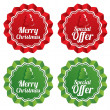 Merry christmas special offer price tags set. — Stock Photo #34720141