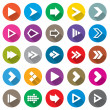 Arrow sign icon set. Simple circle shape buttons. — Stock Photo #34720921