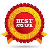 Best seller red label with stars and ribbons — Stock Photo