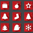 Merry Christmas flat paper icons with shadows. — Stock Photo #34731291