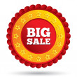 Big sale red label with stars. — Stock Photo