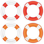 Colorful lifebuoy set with stripes and rope. — Stock Photo
