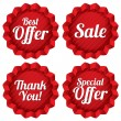 Sale, best offer, special offer, thank you tag set — Stock Photo
