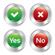 Metallic yes, no buttons template set. — Foto de Stock