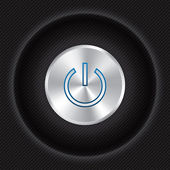 Power button on Carbon fiber background. — Stock Vector