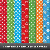 7 Merry christmas vector seamless patterns. — Stock Vector