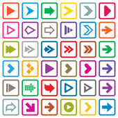 Arrow sign icon set. Internet buttons on white — Stock Vector