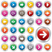 Arrow sign icon set. Internet metallic buttons. — Stock Vector