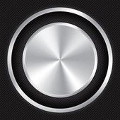 Metallic button on Carbon fiber background. — Stock Photo
