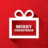 Merry Christmas greeting card on red background. — Stock Photo