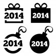 New Year 2014 black icons. Christmas gift, ball. — Stock Vector